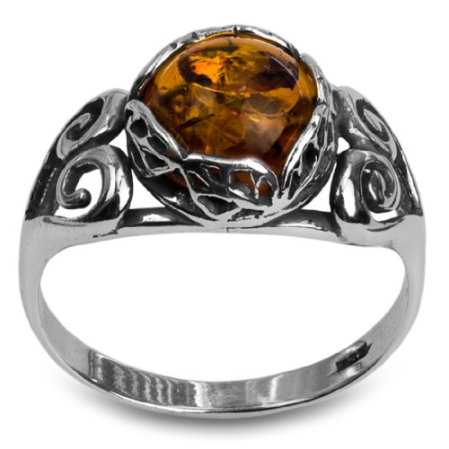 Sterling Silver Amber Classic Round - And Round Brown Amber