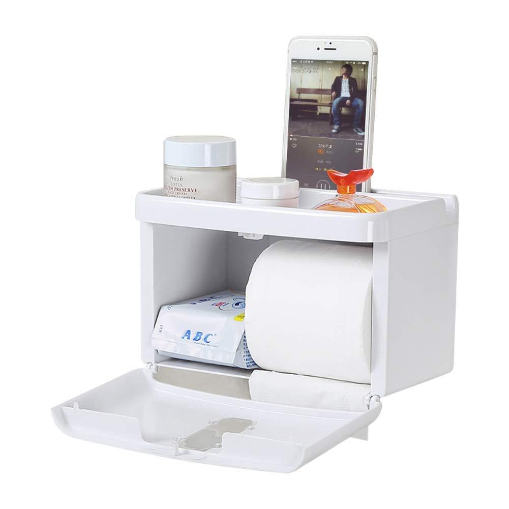 Jizhi Titular de Papel higiénico-Punch-Free Ventosa baño Papel Titular de Papel baño higiénico-ABS plástico Caja de Tejido de baño, Impermeable-Blanco d07946