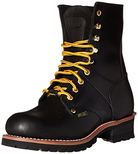 "AdTec 9"" Super Logger Steel Toe Boots for Men Leather Goodyear Welt Construction & Utility Footwear Utility, Black, 10 W US"