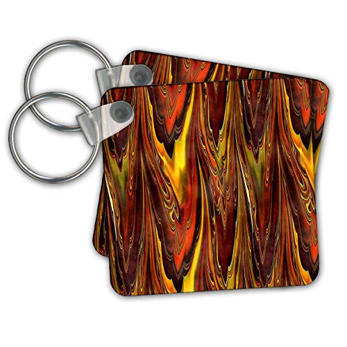 Andrea Haase Art Illustration - Abstact Fractal Design In Amber And Yellow - Key Chains - set of 2 Key Chains (kc_289357_1)