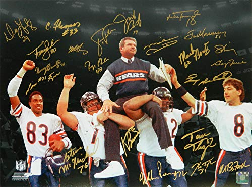 1985 Chicago Bears Team Signed Super Bowl XX Ditka Carried Off Field Spotlight 16x20 Photo (22 - Team Chicago Bears Photo