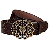 Normcorer Genuine Leather Belt- Floral Embossed- Hollow-Out Buckle- Western Style For Jeans And Dress - Free Hole Puncher(45.28'' long, coffee)