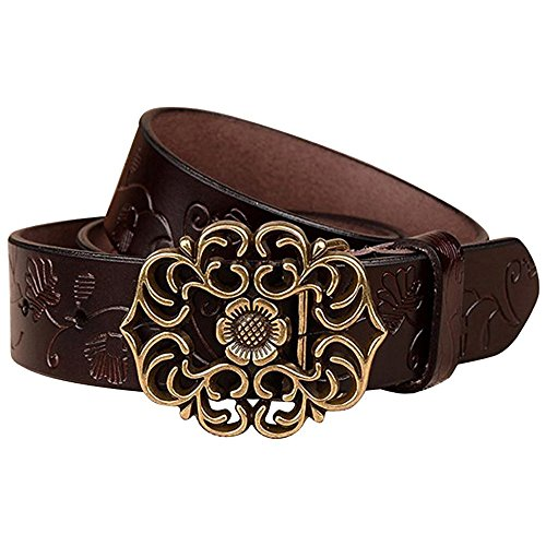 Normcorer Genuine Leather Belt- Floral Embossed- Hollow-Out Buckle- Western Style For Jeans And Dress - Free Hole Puncher(45.28