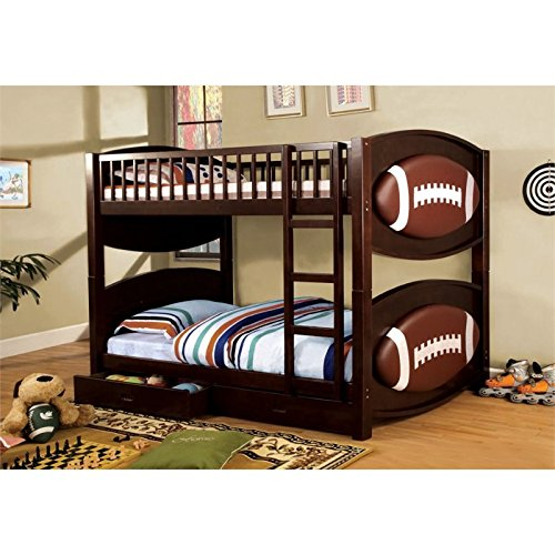 Furniture of America Football Bunk Bed with 2-Drawers, Twin (Sets Bedroom Furniture Mobilia)