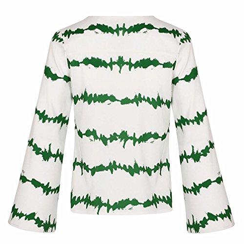 Taille XXXL Casual Haut Manche Chemises Vert Longue Chemisier Chiffon Blouse en Vrac T Grande Col Femmes S Shirt V ~ Wolfleague Fille Chevauchement Ray Sexy Shirts W8FqSHWp