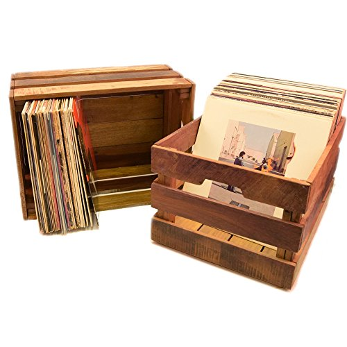 Vinyl Record Crate - Reclaimed Wood - Holds - Wood Record Album Box