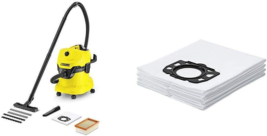 Kärcher WD4 - Aspirador en seco y húmedo, 220 - 240 V, Drum vacuum, de plástico, profesional, color negro y amarillo, versión alemana + Kärcher Bolsas de filtro de fieltro: Amazon.es: Bricolaje y herramientas
