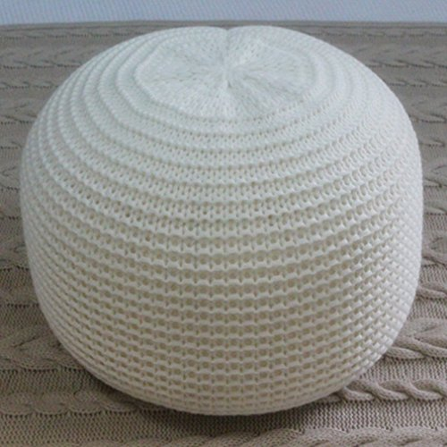 OUTAD 100% Polyester Lining Comfortable Handmade Chunky Knit Foot Stool Pouffe Ottomans Cushion Fit in with any Style Interior (White)