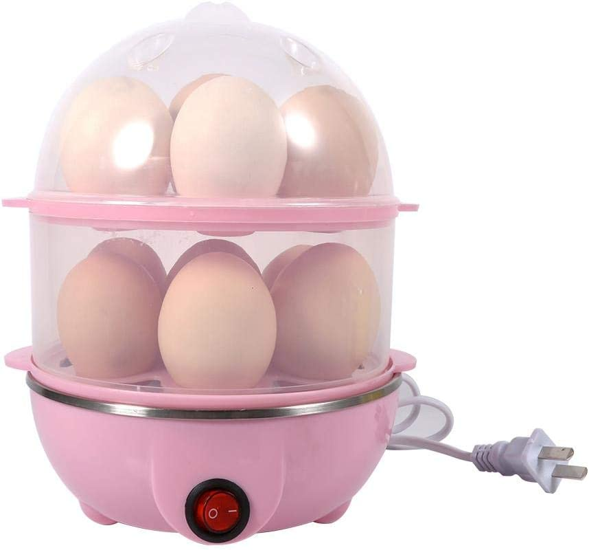 Egg Cooker,350W Double-Layer Electric Egg Maker Multi-functional Eggs Boiler Steamer with 14 Eggs Capacity Pink