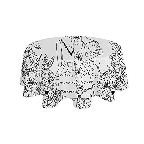 YOLIYANA Doodle Waterproof Round Tablecloth,Girlfriends with Conjoined Ponytails Hugging Friendship Coloring Book Style Design for Living Room,35.4