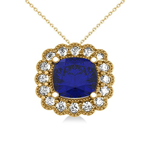 Blue Sapphire and Diamond Floral Cushion Pendant Necklace 14k Yellow Gold (3.16ct)
