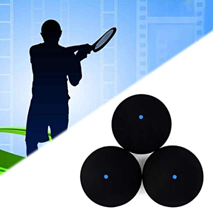 DYNWAVE 3 Pieces Single Blue Dot Squash Ball Shape for Sport Training Practice Gym