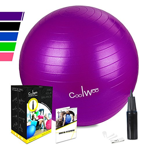 Exercise Ball, Yoga Ball (65cm Purple), Anti Burst for Pilates, Balance, Fitness & Stability with Manual Pump by Coolwoo