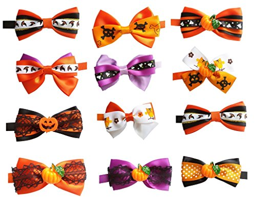 PET SHOW Halloween Puppy Small Dog Bow Ties Pet Cat Bowties Collar for Hallowmas Party Grooming Accessories Random Designs Pack of 10 ()