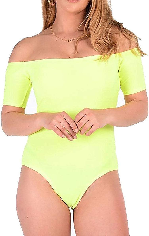 GirlzWalk Womens Plain Short Sleeve Off Shoulder Bodysuit Ladies Party Wear Leotard Top