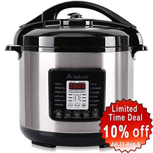 Aobosi Pressure Cooker 8QT HIGH Power 8-in-1 Electric Multi-cooker,Rice Cooker,Slow Cooker,Sauté,Yogurt Maker,Warmer, 6 Pressure Levels,Free Accessories Included,Stainless Steel Pot & Housing