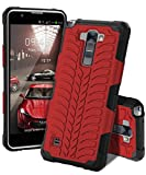 LG Stylus 2 Case, LG G Stylo 2 2in1 Hybrid Heavy Duty Case,Impact Resistant Shock-Absorption Case,Dual Layer Armor Full-Body Protective Case LG Stylus 2 / G Stylo 2 (LS775) (Design G Red Black)