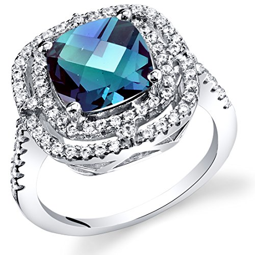(Peora Simulated Alexandrite Cushion Cut Cocktail Ring Sterling Silver 3.00 Carats Size 5)