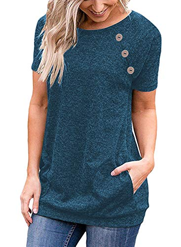 Meyeeka Women's Button Short Sleeve Casual Sweater Crew Neck Loose-fit Tunic with Pockets Cowl Neck Short Sleeve Sweater