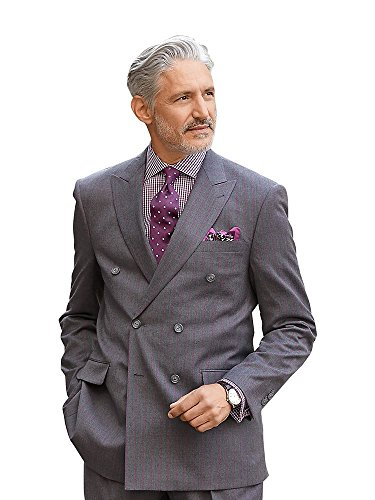 Paul Fredrick Men's Super 100s Wool Stripe Double Breasted Suit Jacket Grey 48 Extra-Long (Wool Long Suit Extra)