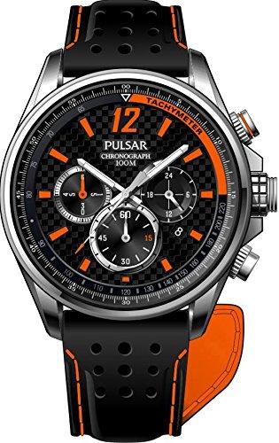Pulsar Chronograph - Reloj de cuarzo para hombre, correa de cuero color negro: Amazon.es: Relojes