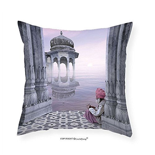 VROSELV Custom Cotton Linen Pillowcase Ancient India Eastern Old Man with Turban near Ganges River in the Mist Cultural Print for Bedroom Living Room Dorm Grey Mauve 26