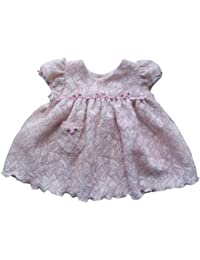 Preemie Dresses-Pink and Cream Baby Dress with Ruffles and Roses ~ Baby Girl