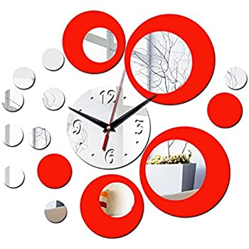 (Red) new wall clock modern design 3d clocks quartz watch plastic Living Room mirror Wall Sticker relogio de parede home decor