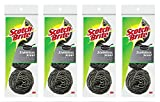 Scotch-Brite Stainless Steel Scouring Pad,3 Count (Pack of 4)