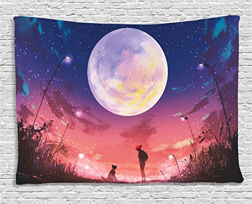 - Ambesonne Fantasy Tapestry, Young Woman with A Dog Under Huge Moon Starry Sky Celestial Magical Friendship Art, Wall Hanging for Bedroom Living Room Dorm, 60 W X 40 L Inches, Coral Navy