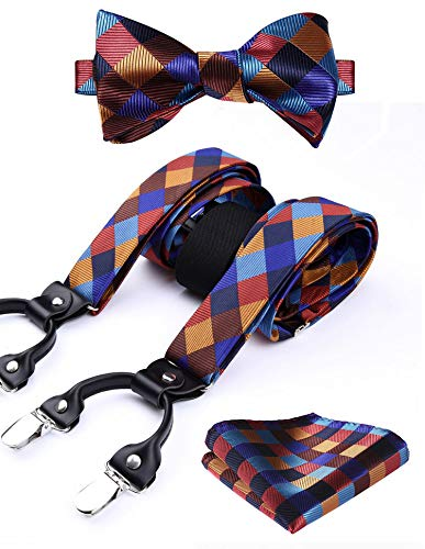 HISDERN Various Classic 6 Clips Suspenders & Bow Tie and Pocket Square Set Y Shape Adjustable Braces
