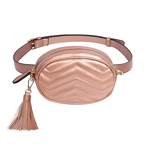 (CILLA Quilted Leather Fanny Pack Waist Bag Stylish Travel Cell Phone Tassel Zipper Bum)