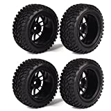 WEONE RC 1:16 Wheel Rim Rubber Tyre Tires for Off-Road Vehicle Black (Pack of 4)