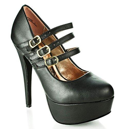 Anne Michelle Realove02 Black Triple Mary-Jane Strap High Heel Platform Dress Pumps-8