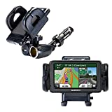 Dual Car Cigarette Lighter Charger Mount and Holder for the Garmin Nuvi 2555 2595 LMT Features 12V Adapter and Charging USB Port