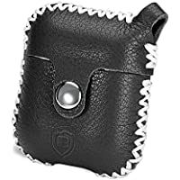 AirPods Case, Benuo Handmade Genuine Leather Protective Cover , Classic Carrying Case with Durable Snap Fastener, Stylish Skin with Secure Keyring for Apple Airpods Wireless Charging Case (Black)
