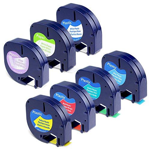 Label KINGDOM Repalce DYMO LetraTag Refills 16952 91330 91331 91332 91333 91334 91335 Label Tape 12mm x 4m (1/2 Inch x 13 Feet) Combo Set Compatible Dymo LetraTag LT100H Plus Label Maker, 7-Pack
