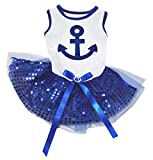 Petitebella Sailor Anchor White Shirt Blue Sequins Dog Dress (XX-Large) Review