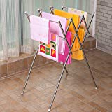Soges Stainless Steel Folding Towel Rack,W Towel Rack Stand Indoor Outdoor Bath Towel Holder XK-M9045-CA