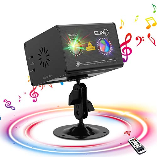 SUNY Party Lights Hardwired Sound Activated Laser Lights 8 RG Gobos Laser Light Show Galaxy Projector LED Ripple Wave Projector Indoor DJ Party Lights Xmas Disco Decor Holiday Event Laser Light Show