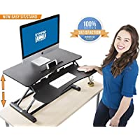 Stand Steady FlexPro Hero Two Level Standing Desk - Easily Sit or Stand in Seconds! Large Work Space w/ Removable Extra Level for Keyboard & Mouse! (Regular (32))