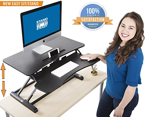 Stand Steady FlexPro Hero Two Level Standing Desk - Easily Sit or Stand in Seconds! Large Work Space w/ Removable Extra Level for Keyboard & Mouse! (Regular (32