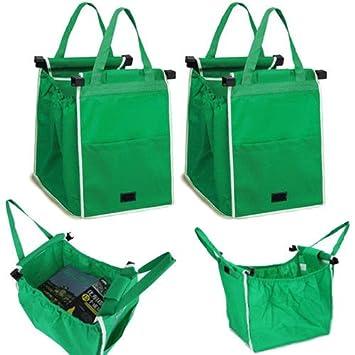 Bolsa saco Shopping Bag para carrito compra con ganchos para colgar supermercado Saco Bolsa rígida Carrito de la compra Tela asas Shopping plegable 2 ...