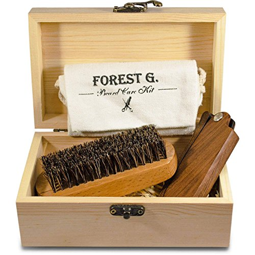 Forest G. Beard Mustache Grooming Care Kit – Wooden Folding Comb Natural Beard Brush Mens Giftbox Premium Care Set Men Facial Hair Sandalwood Folding Pocket Comb Beech Brush Wooden Box