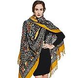 DANA XU 100% Pure Wool Women Winter Large Scarf Pashmina (Yellow)