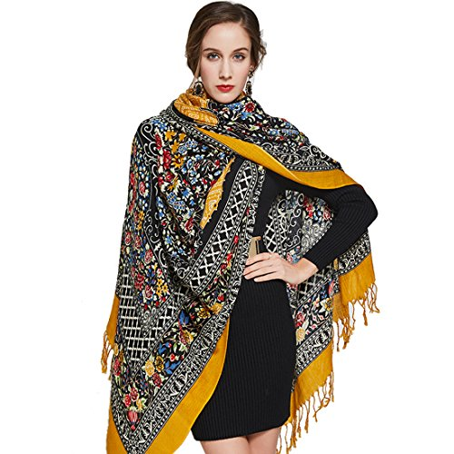 DANA XU 100% Pure Wool Women Winter Large Scarf Pashmina (Yellow)