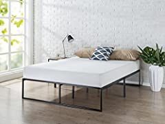 This sturdy platform mattress foundation is designed for strength and style. The extra strength steel framed mattress foundation by Zinus features steel slats that provide strong support for your memory foam, latex, or spring mattress. 14 inc...