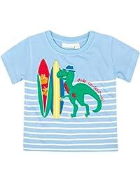 JoJo Maman Bebe Dino T Shirt (Toddler/Kid) - Blue/White Stripe-2-3