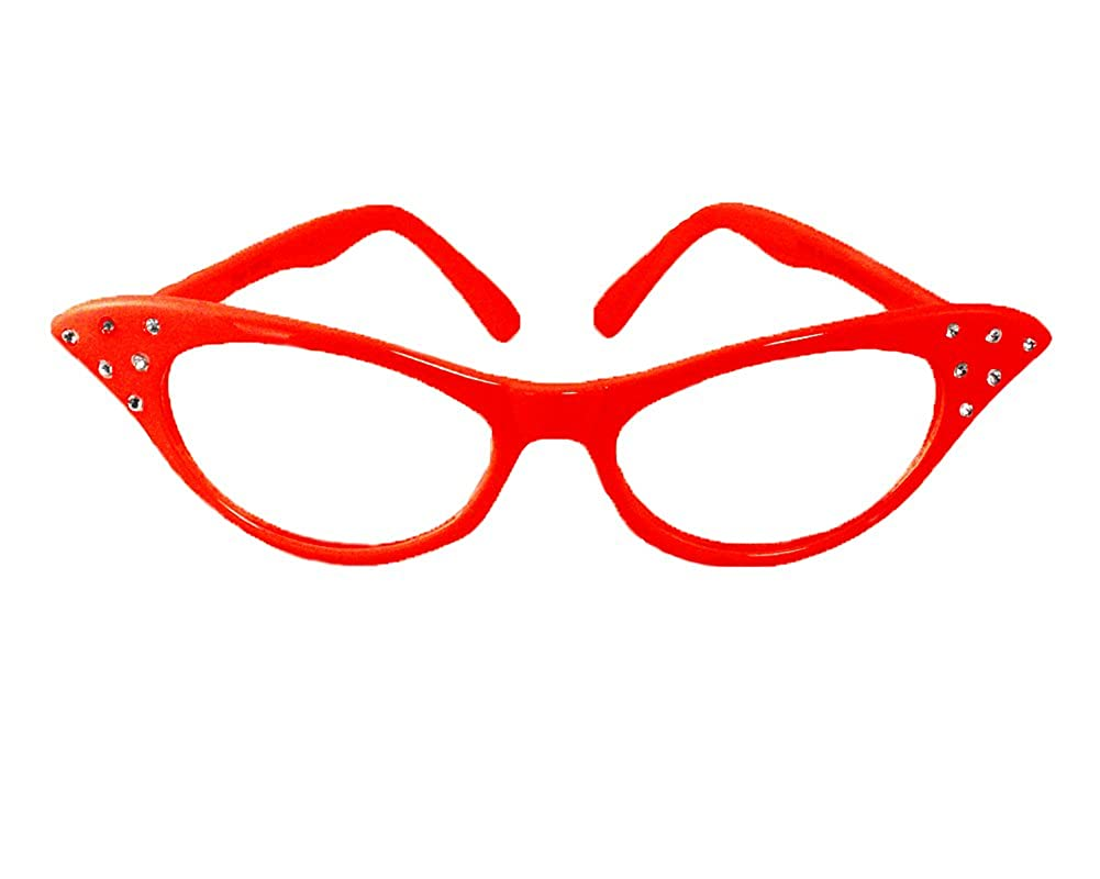 Cat Eye Glasses in Black, Pink, White, Red, Blue - 50s Rhinestone - Hey Viv