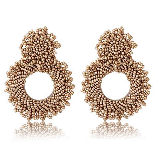 - FUNRUN JEWELRY Beaded Hoop Earring for Women Statement Round Drop Earrings Bohemian Handmade Gift for Mom Sister Friend